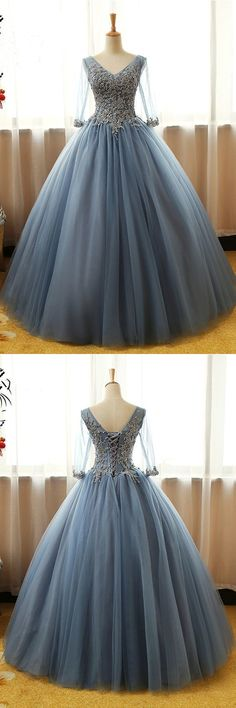 Half Sleeve Prom Dresses Floor-length Long Dusty Blue Ball Gown Prom Dress by ainiprom, $198.56 USD