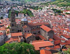 Cathedral de Notre Dame in the village of Le Puy en Velay, France.