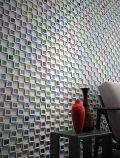 This a wall cladding product that allows you to fill in the squares with glass or whatever else you might imagine......could be a fun project