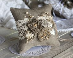 Rustic Chic Wedding ring bearer pillow with by RusticBeachChic, $33.00