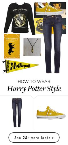 """Hufflepuff"" by emilia-alegria on Polyvore featuring Tory Burch and Converse"