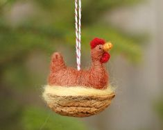 Ships for XMAS - Chicken in a Walnut - Rhode Island Red - Needle Felted Ornament Red Ornaments, Felt Christmas Ornaments, Christmas Crafts, Xmas, Christmas Decorations, Needle Felted Animals, Needle Felting, Felt Animals, Needle Felted Ornaments