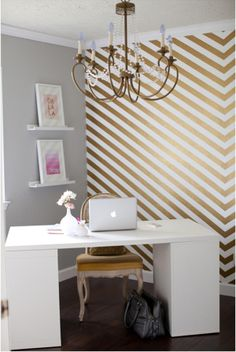 gold stripes simple office. Love the idea of one wall with some shimmer..and like the homey yet office feel here.