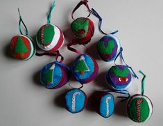 Christmas Fabric Hand - Stitched Baubles  £12.00 for all 10