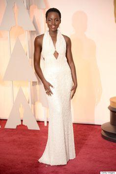 Lupita Nyongo Pearl Dress Oscar 2015