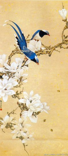 Wall screen with birds and blossoms: