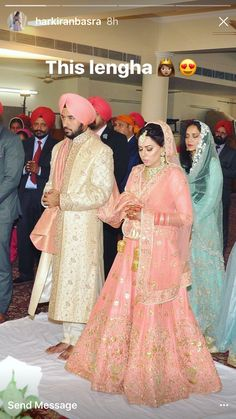 Pink wedding lengha Indian Wedding Outfits, Bridal Outfits, Bridal Dresses, Bridesmaid Dresses, Sikh Bride, Punjabi Bride, Punjabi Couple, Punjabi Wedding, Bridal Lehenga Online
