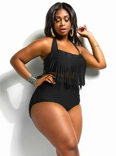 """Sao Paulo"" Plus Size Bikini Fringe Underwire Top- Black - Swimwear - Monif C"