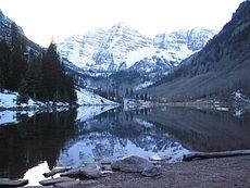 Maroon Bells with Snow, Aspen, Colorado
