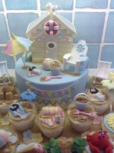 I made this beach hut cake for my son's lovely friend Sophie who was having a beach theme party. Would like to thank Mel from SugarandSpiceCakes for her brilliant Adirondack chair tutorial – would really recomend it! Beach Hut Cake, Beach Cakes, Big Cakes, Fancy Cakes, Fondant Cakes, Cupcake Cakes, Beach Themed Cakes, Pool Cake, Summer Cakes