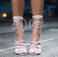 Pink strappy shoes