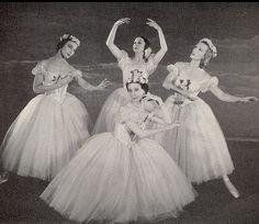 Pas de Quatre, London, 1951 Nathalie Leslie, Alexandra Danilova, Alicia Markova, and Tatiana Riabouchinska in a Festival Ballet production, from book: Balanchine's Complete Stories of the Great Ballets, 1954