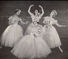 Pas de Quatre, London, 1951 Nathalie Leslie, Alexandra Danilova, Alicia Markova, and Tatiana Riabouchinska in a Festival Ballet production, from book: Balanchine's Complete Stories of the Great Ballets, 1954