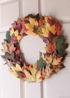 Learn the quick and easy way to press fresh fall leaves into a simple and beautiful wreath! Learn the quick and easy way to press fresh fall leaves into a simple and beautiful wreath! Autumn Wreaths For Front Door, Diy Fall Wreath, Fall Wreaths, Door Wreaths, Wreath Ideas, Fall Diy, Garland Ideas, Ribbon Wreaths, Tulle Wreath