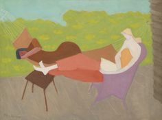 Milton Avery (1885–1965), MARCH AND SALLY OUTDOORS, 1950, oil on canvas, 30x40 in