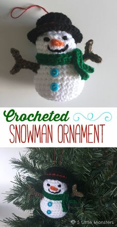 FREE CROCHET PATTERN - Create this adorable crocheted snowman ornament for your tree with this step by step tutorial. Crochet Snowman, Crochet Ornaments, Crochet Crafts, Crochet Projects, Free Crochet, Crochet Snowflakes, Snowman Crafts, Snowman Ornaments, Christmas Snowman