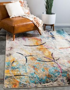 Enjoy exclusive for Unique Loom Chromatic Collection Rustic Modern Abstract Colorful Multi Area Rug 0 x online - Chicideas Yellow Area Rugs, Decor, Rugs, Modern Rustic, Contemporary, Modern Rugs, Area Rugs, Vintage Rugs, Shed Colours