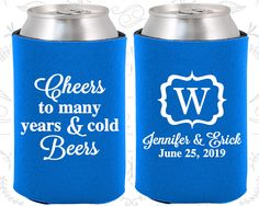 Cheers to Many Years and Cold Beers, Fun Wedding Gifts, Monogram Wedding Favors, Monogrammed Gifts, Custom Koozies (242)