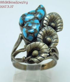 Early Signed AG Southwestern Sterling Silver 925 Turquoise Ring Size 7