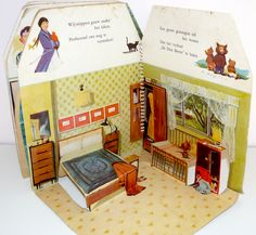 Dutch pop-up dollhouse book from the 1950s - bedroom