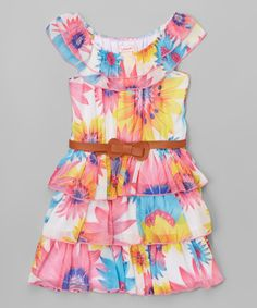 Another great find on #zulily! Pink & Yellow Chiffon Belted Yoke Dress - Toddler & Girls by Unik #zulilyfinds