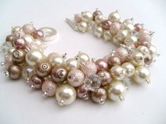 Pink Taupe Bridesmaid Jewelry, Wedding, Pearl Bridesmaid Bracelet, Cluster Bracelet, Pearl Bracelet, Nude Shades, Ivory Pearl, Nude Colours on Etsy, $19.00