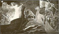 """Torgerd and Irpa. Artwork by Jenny Nyström (1854 - 1946), 1895. Published in """"Ekermann, A. (1895). Från Nordens forntid: Fornnordiska sagor bearb. på svenska"""