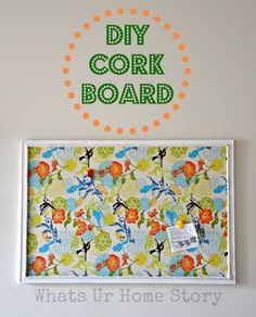 How to give a $5 thrift store cork board a makeover with fabric. www.whatsurhomestory.com