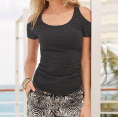 Dámské stylové tričko s odkrytými rameny černé – Velikost L Na tento  produkt se vztahuje nejen 19116860cd