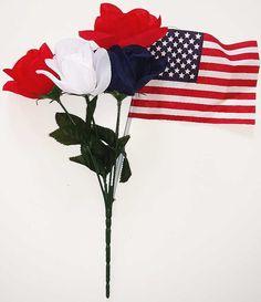 Patriotic American Flower Bush - 18 Inch