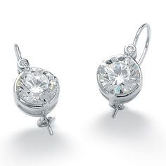 Platinum over Sterling Silver Round DiamonUltra™ Cubic Zirconia Pierced Earrings at PalmBeach