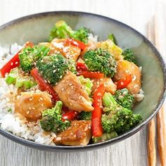 Sesame Chicken with Broccoli and Red Pepper Sub Cauliflower rice!!
