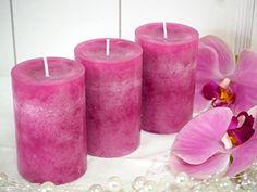 3 Stumpenkerzen Kerzen Pink Kommunion Konfirmation Tischdeko Hochzeit Deko