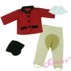 """Red Equestrian Horse Riding Outfit for 18"""" Dolls like American Girl Gotz Our Generation Sophias Brand http://americangirlfansite.com/product/red-equestrian-horse-riding-outfit/"""