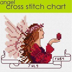 July Angel Cross Stitch Chart PDF, Ruby Birthstone £2.00