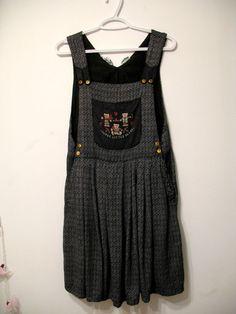 Three Little Bears Vintage Dolly Kei Tweed Overall Dress. $22.00, via Etsy.