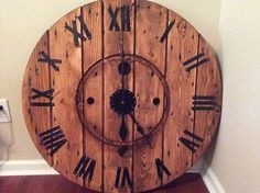 HOME DECOR – IDEAS – diy large cable spool wall clock, diy, repurposing upcycling, wall decor