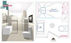 projet salle d'eau | B_indoor | www.b-indoor.com/ #decoration #design #agencement #contemporain #art #mobilierdesign #amenagement #plans #douche #bathroom #salledebains #meublevasque #carrelage #faience #grescerame