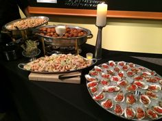 A few hors d'oeuvres stations at an event catered by table 301 catering at the upcountry history Museum Chef Work, History Museum, Catering, Menu, Table, Desserts, Food, Menu Board Design, Tailgate Desserts