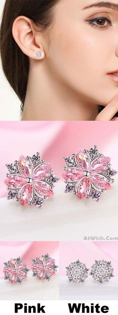 Sweet Pink Flower Cherry Dating Silver Student Girl's Zircon Earrings Studs for big sale! #flower #pink #cherry #student #zircon #earrings #studs