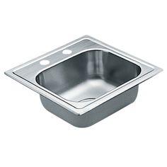 Moen 2200 Series 22 Gauge Single Bowl Drop In Sink, 15 x 15, Stainless Steel (G2245622) - Single Bowl Kitchen Sink - Amazon.com