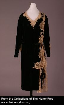 1927 - Worn by Elizabeth Parke Firestone Creator: Stein & Blaine - New York, NY, US (silk, cotton velvet, machine lace) Collections of The Henry Ford