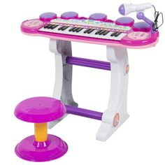 Best Choice Products Musical Kids Electronic Keyboard 37 Key Piano W/ Microphone, Synthesizer, Stool, Records and Playbacks Music Pink Little Girl Toys, Toys For Girls, Stools For Sale, Instrument Sounds, Kids Piano, Keyboard Piano, Musical Toys, Electronic Toys, Teen Room Decor