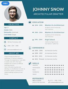 Free Draftsman Resume CV Template in Photoshop (PSD), Illustrator (AI) - CreativeBooster