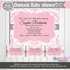 Printable Duo:Invitation and Diaper raffle tickets Pink Damask baby shower invitation.Baby Girl shower invitation.Any occasion, any wording! on Etsy, $11.99