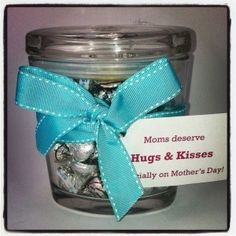 DIY Gift Idea for Mom: Fill an empty oval jar with Hershey's Hugs & Kisses