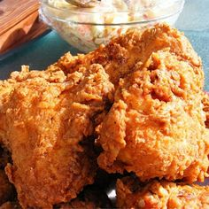 "Triple Dipped Fried Chicken Recipe - will need some spicing up! ""This is the crispiest, spiciest, homemade fried chicken I have ever tasted! It is equally good served hot or cold and has been a picnic favorite in my family for years. Homemade Fried Chicken, Making Fried Chicken, Fried Chicken Recipes, Crispy Chicken, Recipe Chicken, Fried Chicken Southern, Bisquick Fried Chicken, Fried Chicken Side Dishes, Gourmet"