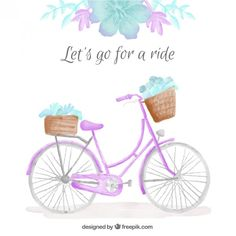 Watercolor cute bicycle with floral detail background Free Vector