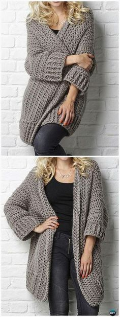 Crochet Big Chill cardigan Pattern - This is the perfect work-from-home sweater - so cozy, so warm! Crochet Women Sweater Coat Cardigan Free Patterns: Crochet Open Front Sweater Coat, Button Up Sweater Coat, Zip Up Sweater Cardigan Cardigan Au Crochet, Crochet Jacket, Crochet Poncho, Crochet Sweaters, Crochet Cocoon, Sweater Cardigan, Women's Sweaters, Ravelry Crochet, Loose Sweater