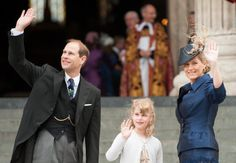 The Earl & Countess of Wessex, accompanied by daughter Lady Louise Windsor, arrive at St. Paul's Cathedral for a Service of Thanksgiving marking the Diamond Jubilee, London, 5 June 2012.